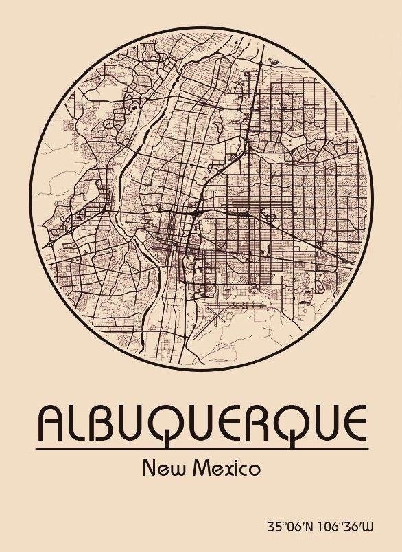 Karte Map Albuquerque New Mexico Vereinigte Staaten Von - Us map albuquerque