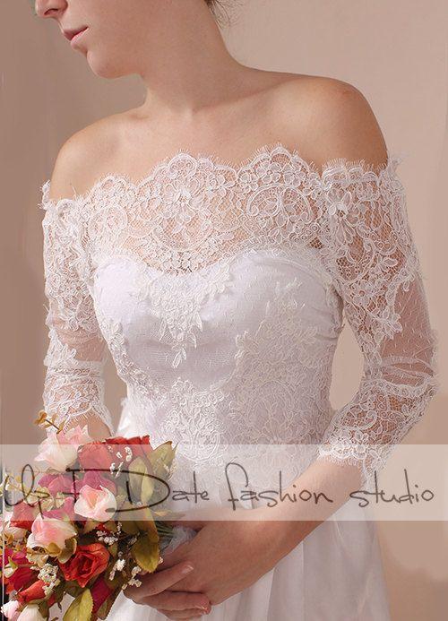 5bba884e3ed Plus Size lace bolero Bridal Off-Shoulder   Lace wedding jacket  shrug   jacket   lace top 3 4 sleeves by Uptodate Fashion Studio