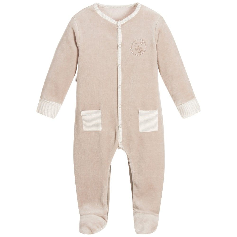 090a104ce03b ABSORBA Baby Taupe Velour Babygrow with Feet