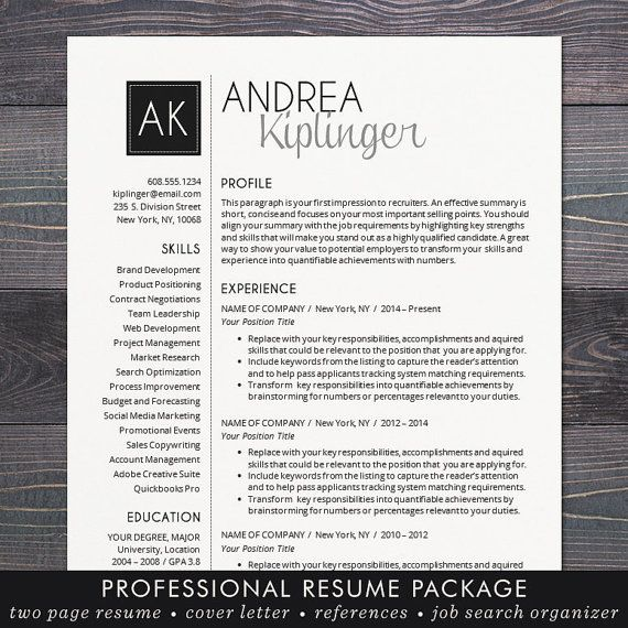 Resume Template - CV Template, Word for Mac or PC, Professional ...