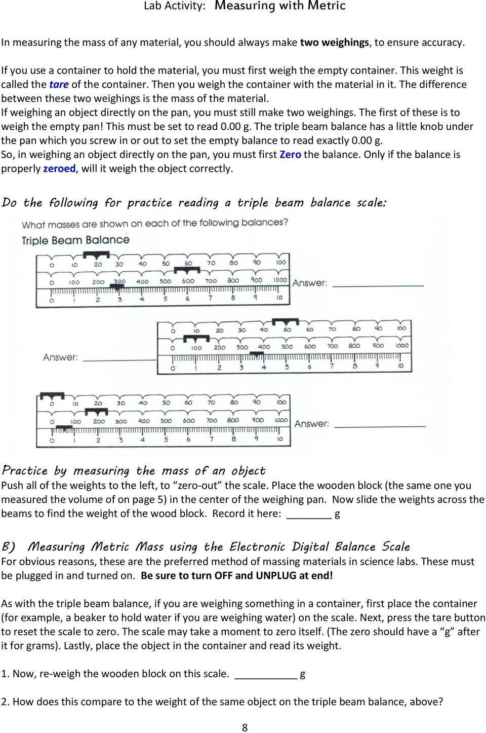 Triple Beam Balance Practice Worksheet Practices Worksheets Lab Activities Reading Practice Worksheets