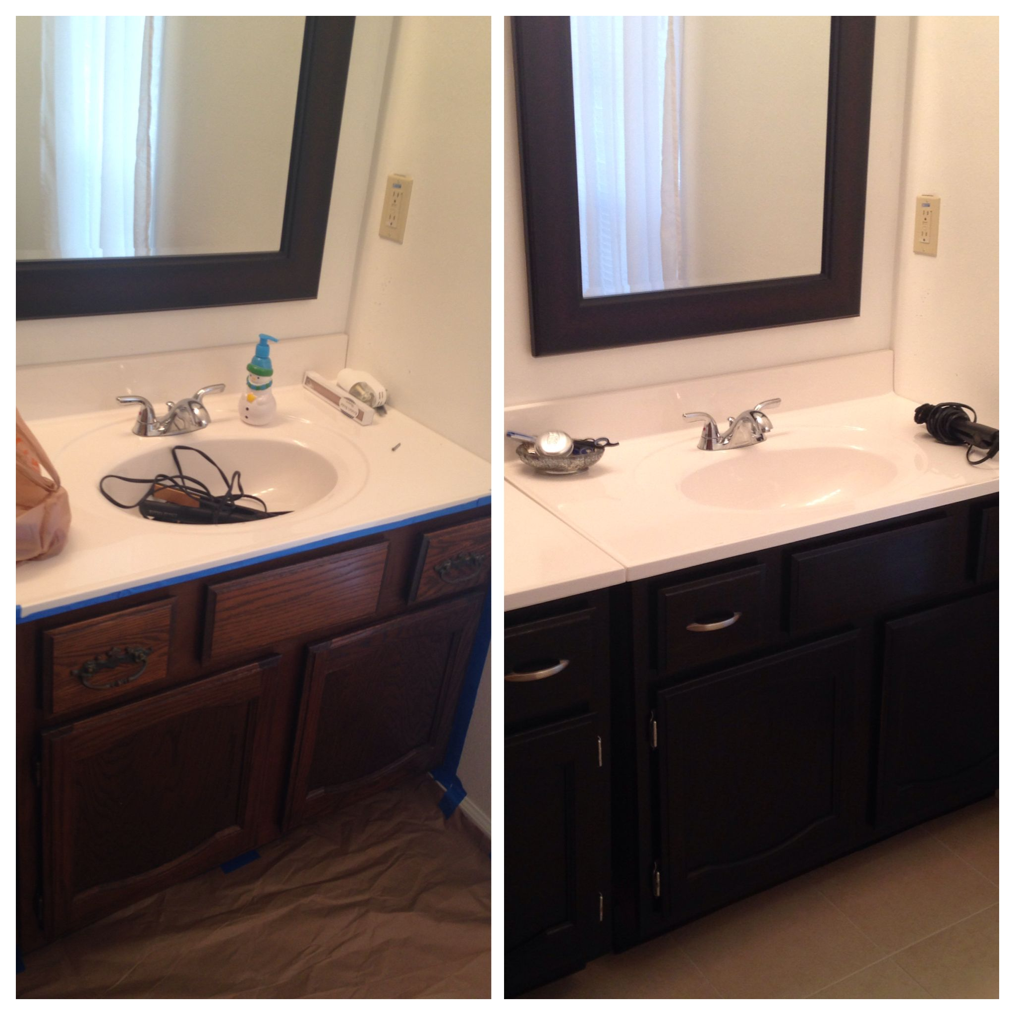 before after bathroom cabinets used 4 coats of miniwax stain in ebony