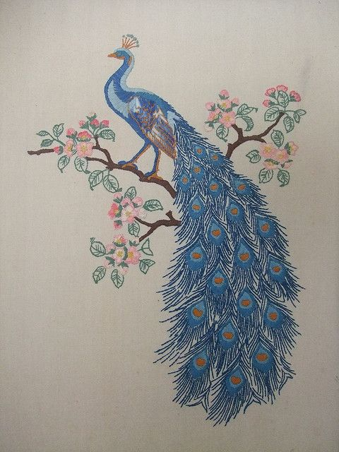 Embroidered Peacock Peacock Embroidery Designs