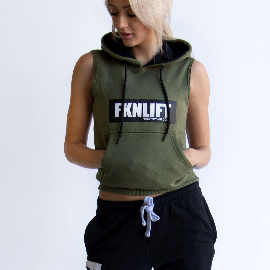 bd42897f Women's 'FKNLIFT' Sleeveless Gym Hoodie - Khaki in 2019 | Women's ...