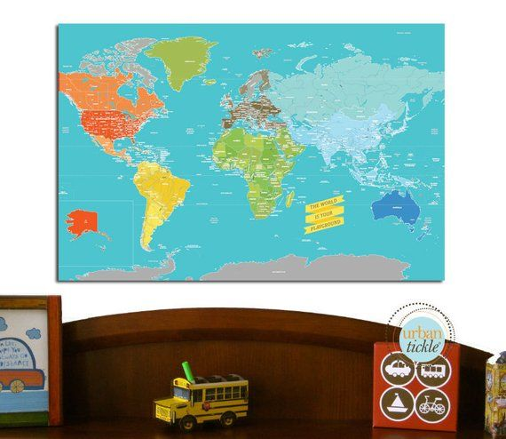 Worldmap For Kids Canvas Map Playground World 20x30 Inches Travel