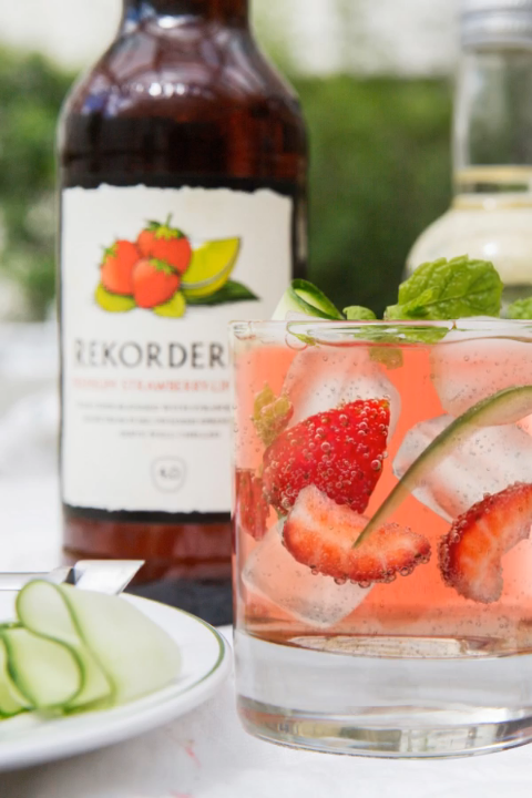 Create our Spirit of Summer cider cocktail by pouring 1 bottle of Rekorderlig Strawberry-Lime over ice with 25ml vodka, 25ml elderflower cordial and 25ml lime juice. Then simply garnish with mint leaves, strawberries and cucumber, and enjoy!