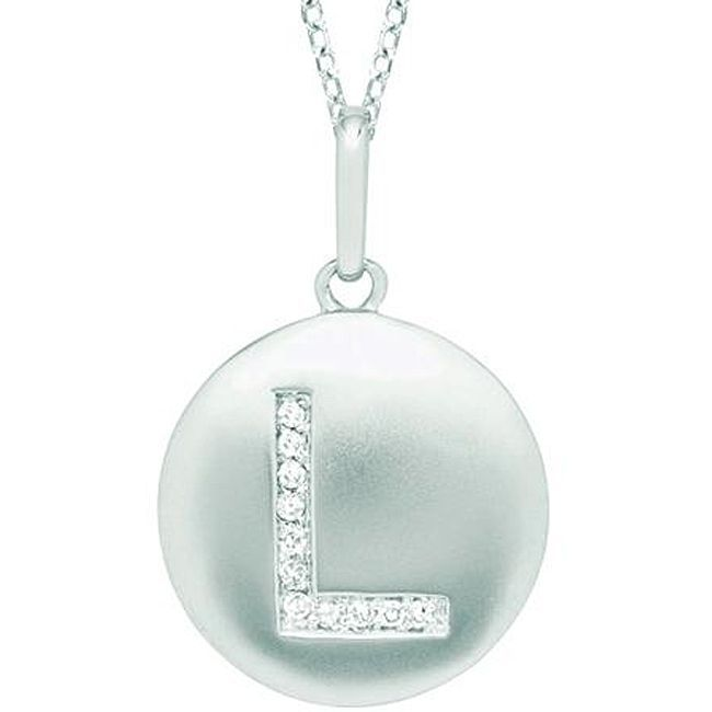 Sterling Silver Diamond Accent Initial Monogram Necklace (L), Women's, Size: 18 Inch, White (satin)