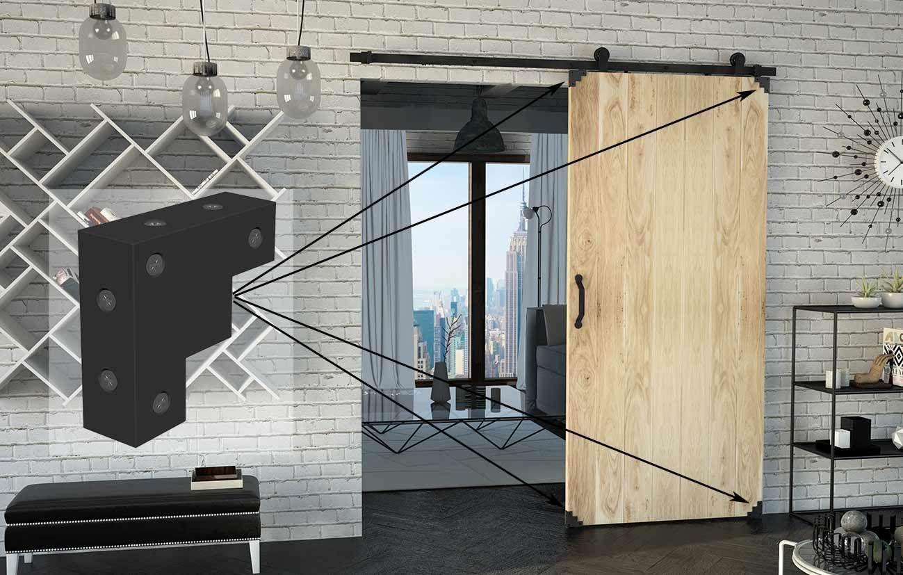 Corner decorative steel 75x75x25 color black matte.