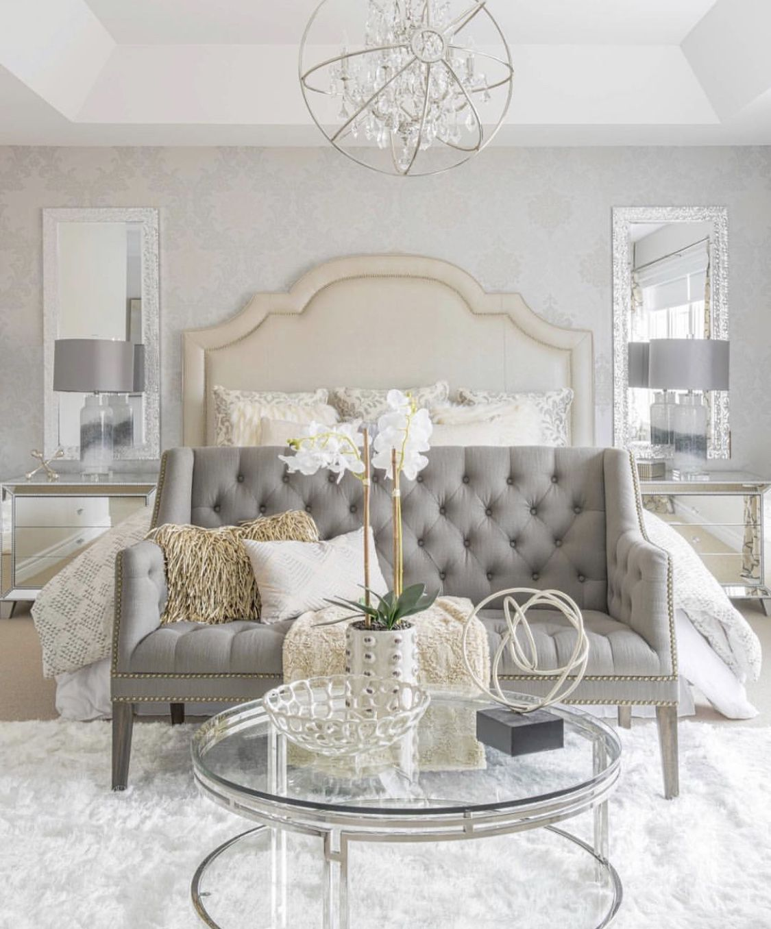 Best Monochromatic White Bedroom In Transition Style With 400 x 300
