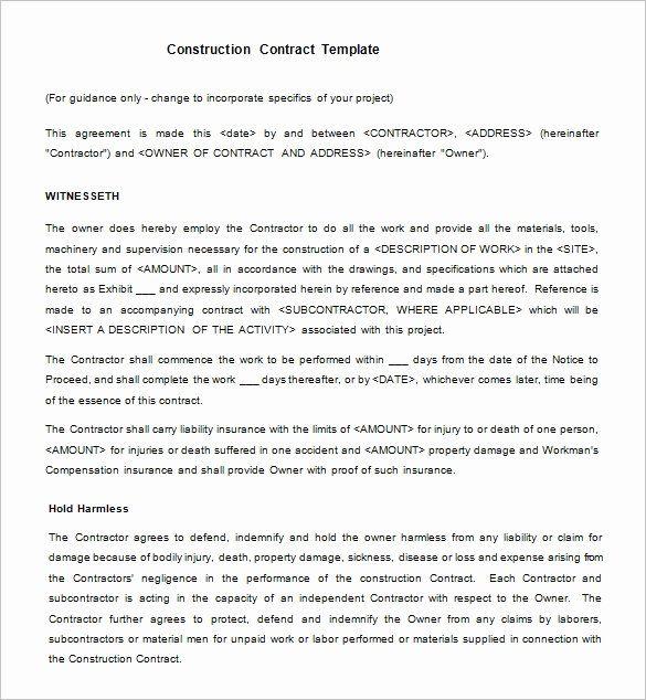 Simple Construction Contract Template Unique 15 Legal Contract