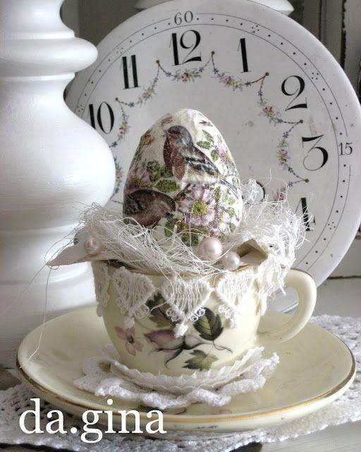 Holzkistchen Mit Hübsch Kleines Schwedenhaus Shabby Chic: Décoration De Pâques -m@-Vintage Easter