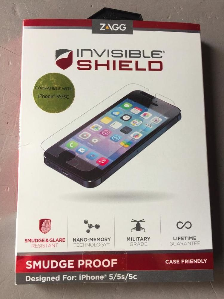 online store 9c4e2 8955d Zagg Invisible Shield For iPhone 5/5S /5C.CASE FRIENDLY SMUDGE PROOF ...
