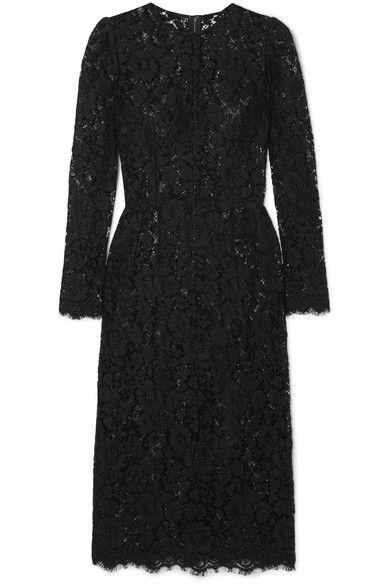 840dfcb16f Dolce   Gabbana - Lace Midi Dress - Black in 2019