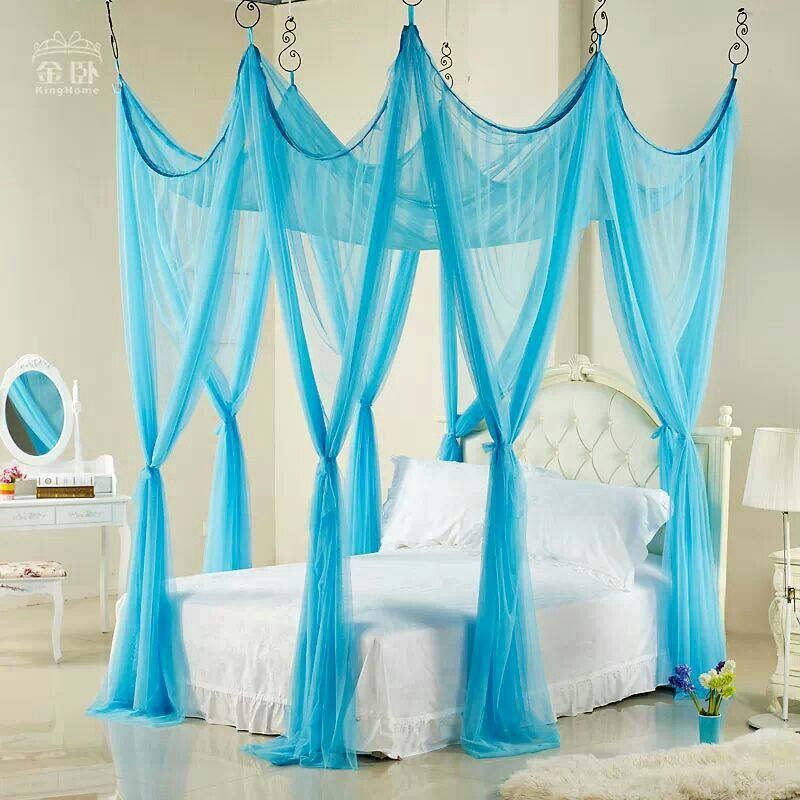 Bright Blue Four Poster Bed Full Canopy Bed Frozen