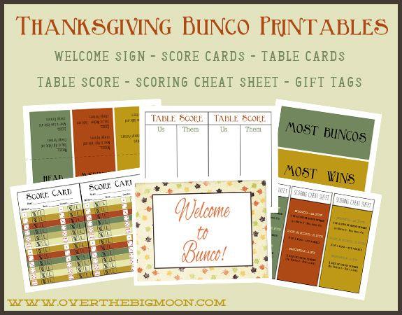 Thanksgiving Bunco Printables  Big Moon Thanksgiving And Free