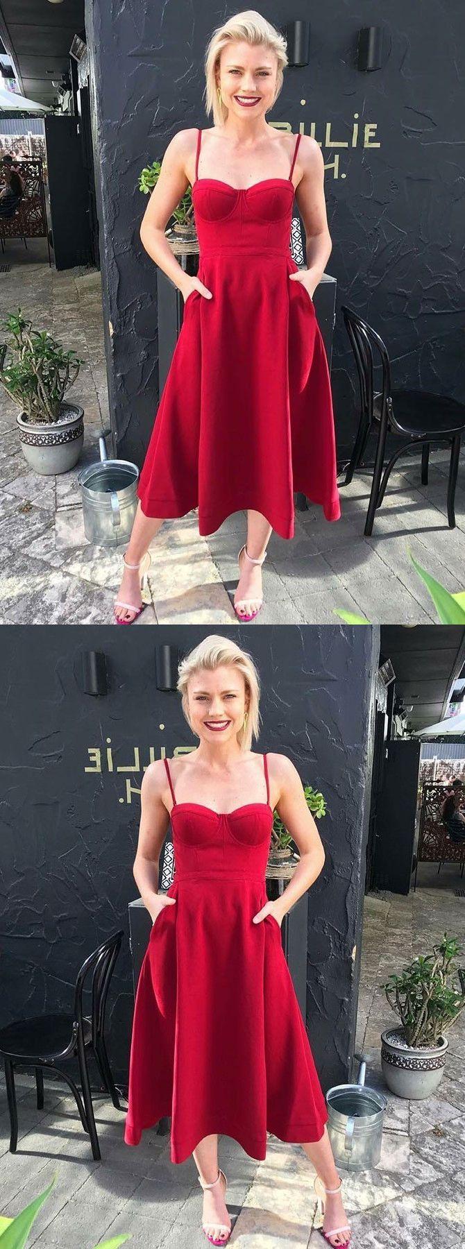 Kurz A-Linie Spaghettiträger Rot Heimkehr Ball Party Kleid ...