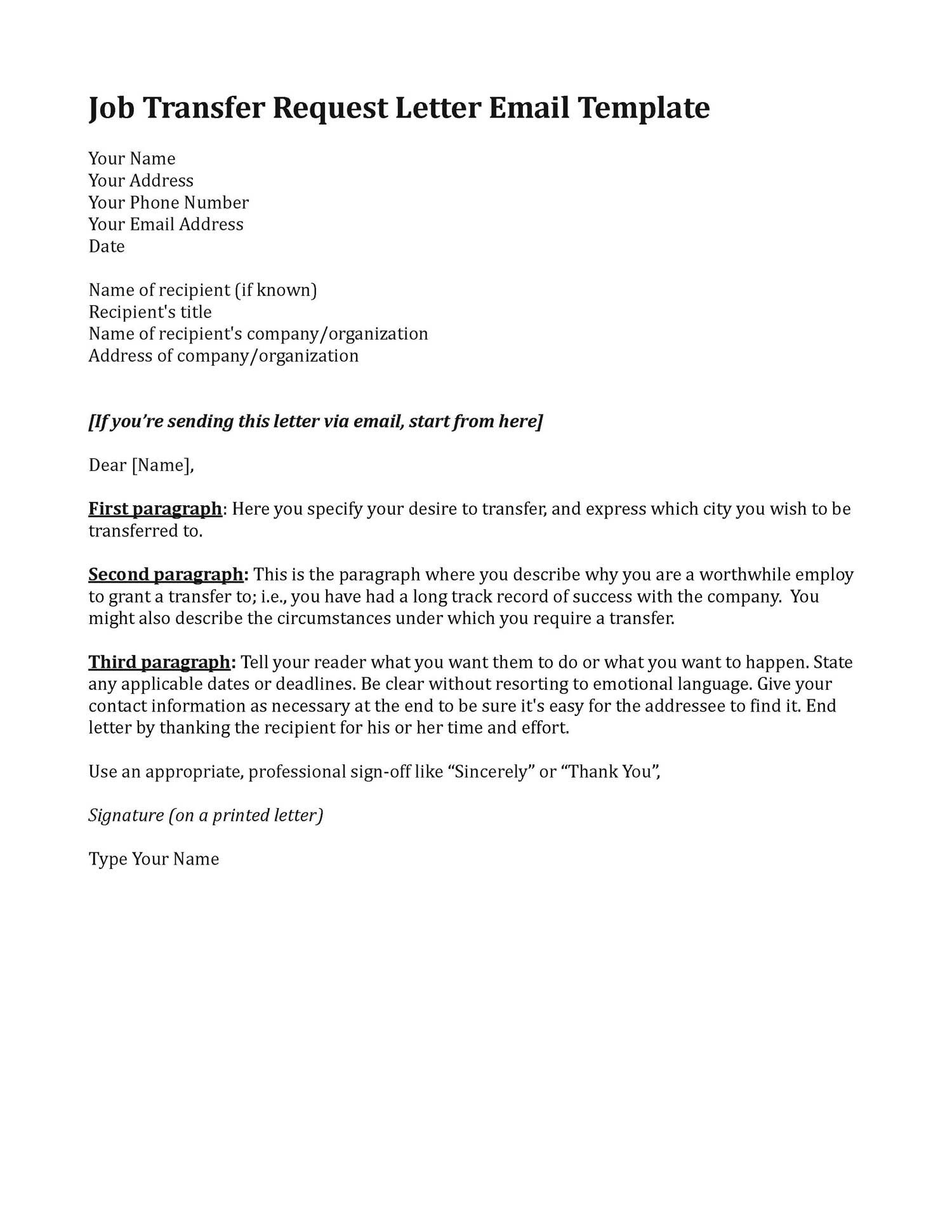 Template for job transfer request letter any suitable for Cover letter for moving to a new city