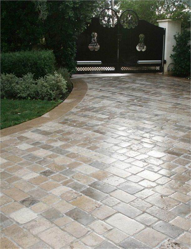 tumbling rounds the edges of these beautiful limestone pavers
