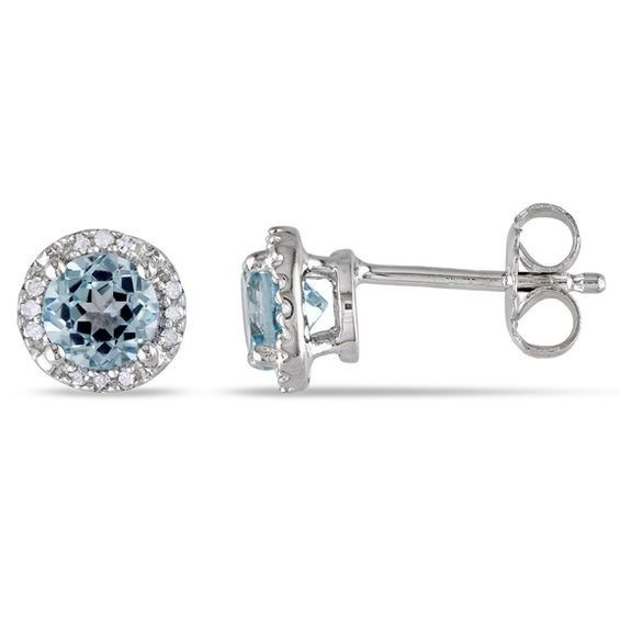 23f69fcf6c314 5.0mm Sky Blue Topaz and Diamond Accent Frame Stud Earrings in ...