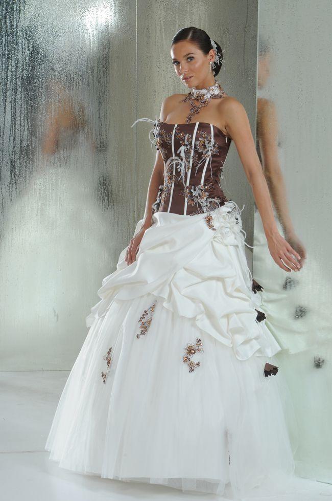 Robe de mariee ivoire et chocolat