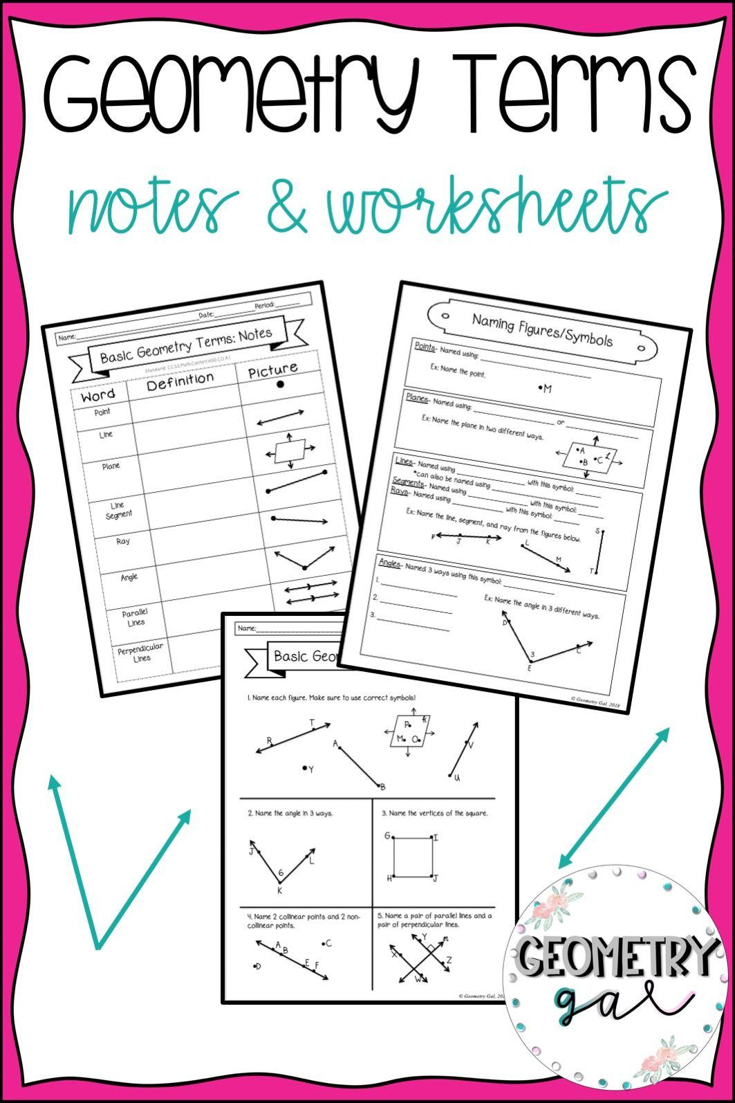 Geometry Terms Guided Notes And Worksheet