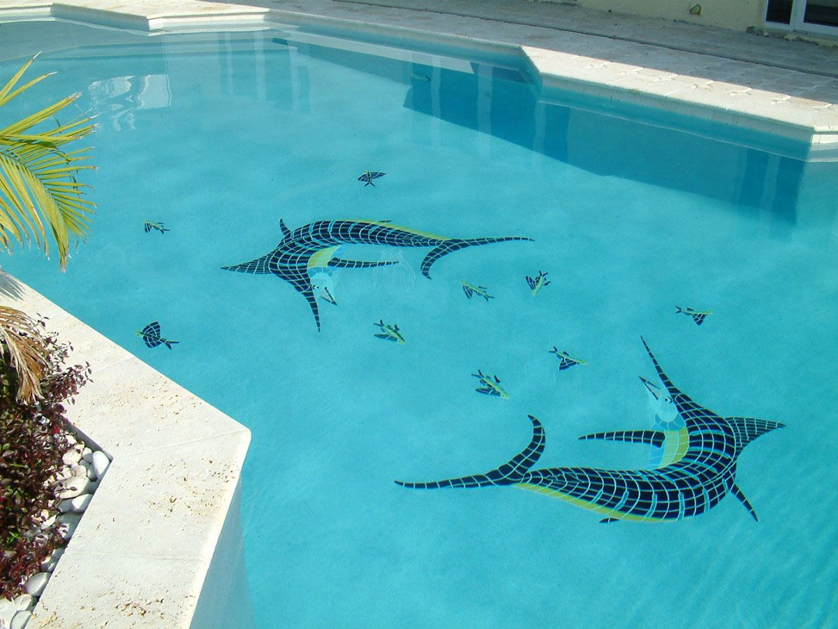 Action marlins w/ flying fish design by Artistry in Mosaics ...