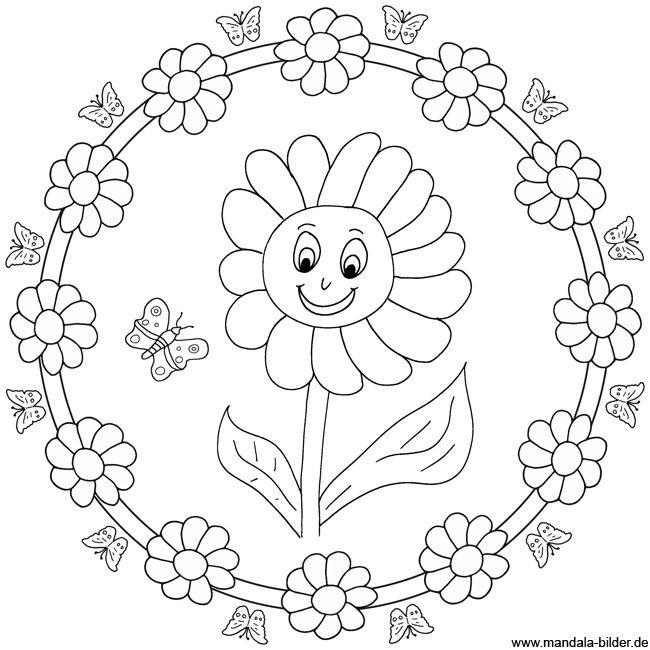Sonnenblume - Mandala Malvorlage zum Ausdrucken Mandala