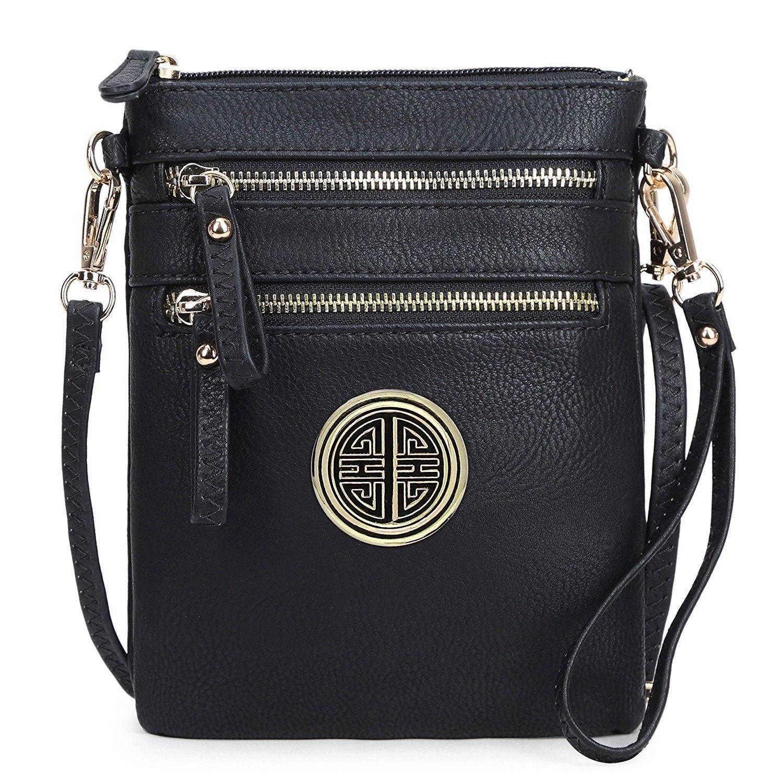 Women s Faux Leather Organizer Multi Zipper Pockets Handbag With Detachable  Wristlet Crossbody Bag - Black - CJ187LTUQT3 - Women s Bags e36f2a92bf48f