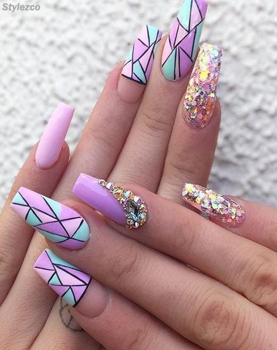 Cooler & trendiger lila Nail Art-Entwurf, den Sie noch nie ...