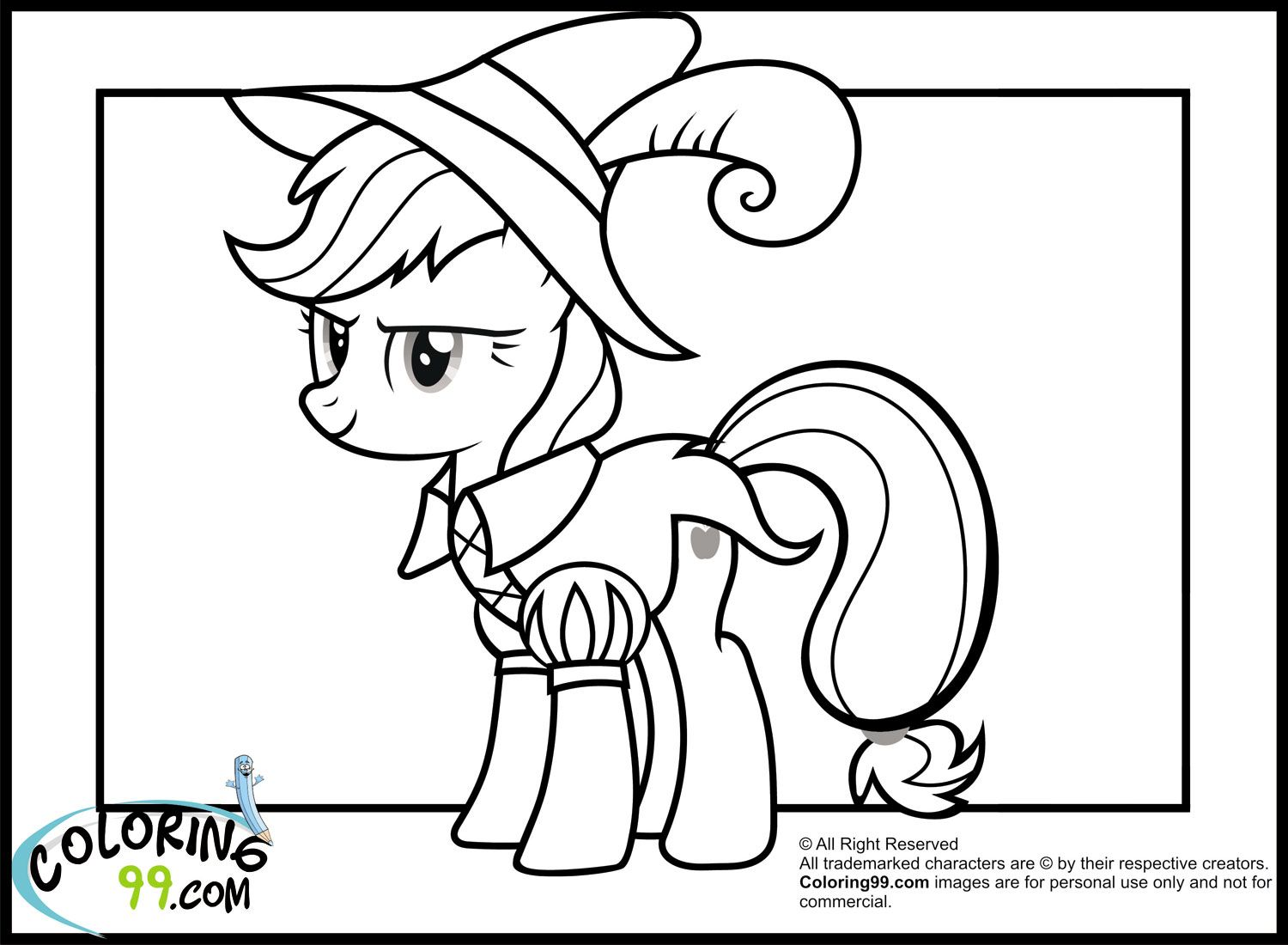 my little pony applejack in funny costume coloring pagesjpg 1500