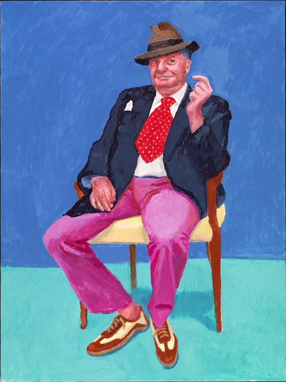 I love the dominant colors in this portrait (Barry Humphries or Dame Edna by David Hockney). I like how the balance of blue to green mimics the red to pink.