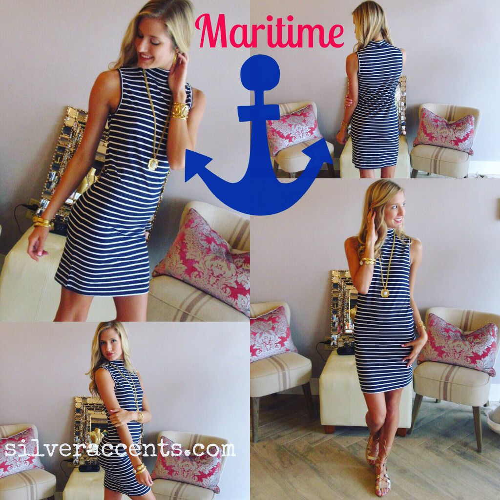 MARITIME Stripe MockNeck Jersey Dress
