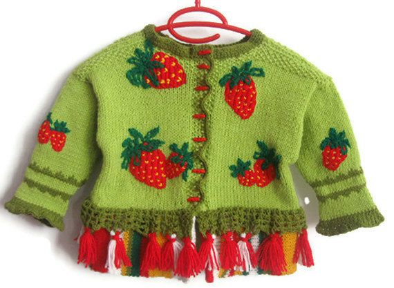 Handmade Children Cardigan Strawberries on Green Design, Hand Knit Children Wool Sweater for 3 years ol girl by Solandia