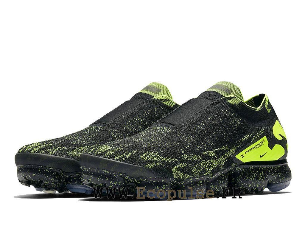 0a4bbb56665 Nike Vapormax Flyknit 2.0 Chaussures Nike 2018 Pas Cher Pour Homme Noir  vert AQ0996-007