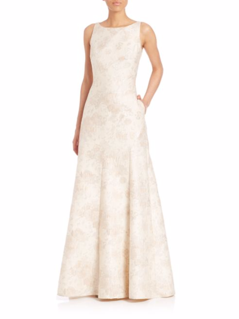 Fancy Wedding Dresses For Budget Brides Aidan Mattox Floral Jacquard Gown At Saks Fifth Avenue