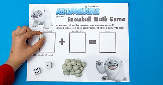 Snowball Math Games with Homemade Glittering Snow Playdough #homeentertainment