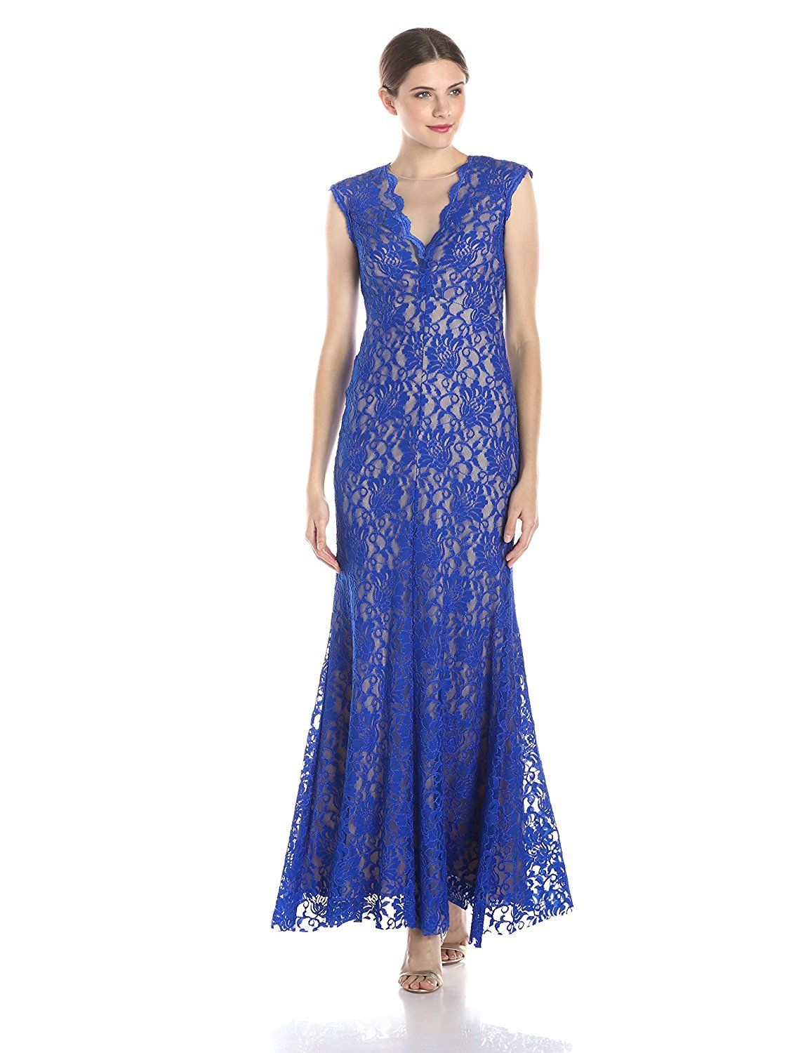 Xscape Women\'s Long Lace with Illusion Neck *** Awesome product ...