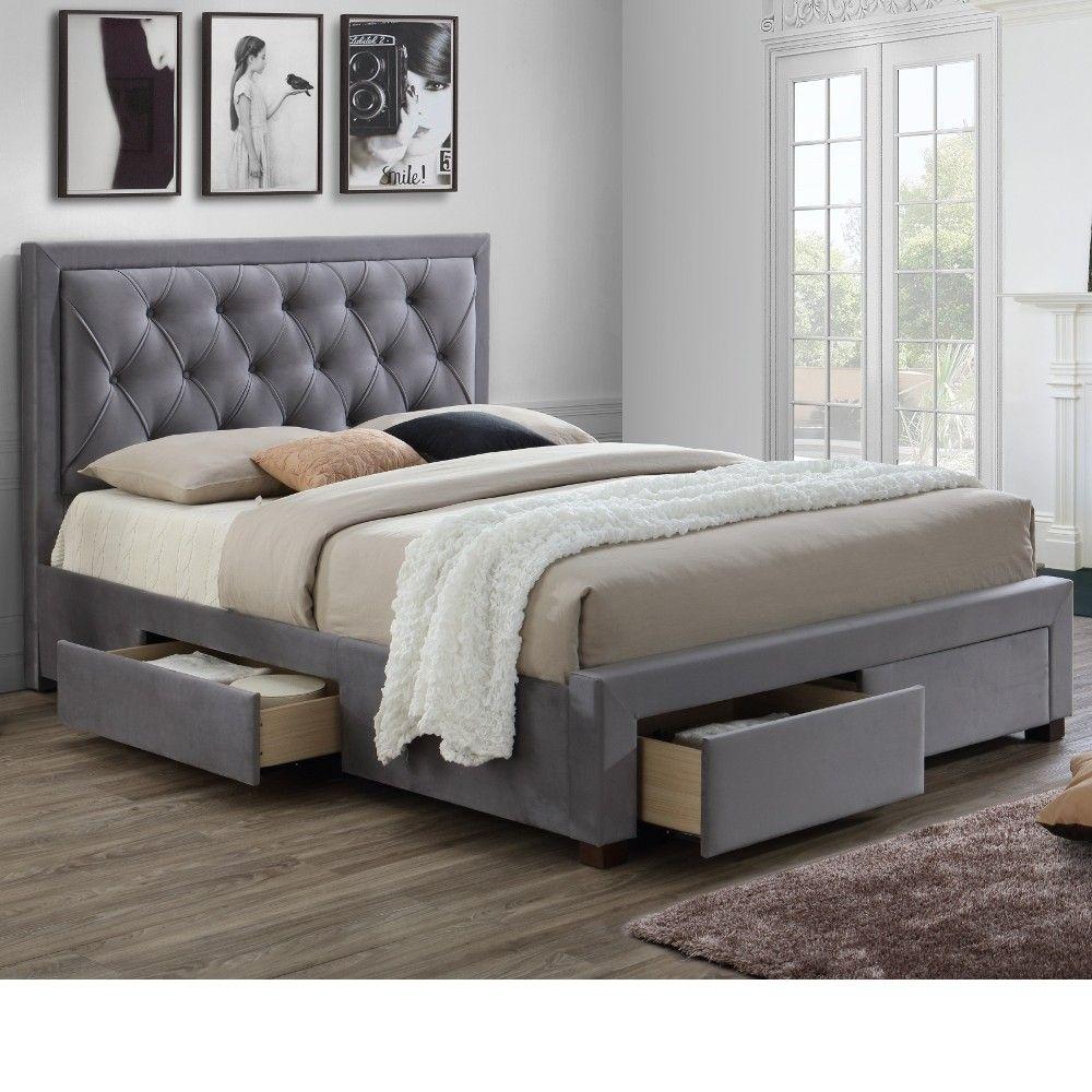 Woodbury Grey Velvet Fabric 4 Drawer Storage Bed Frame