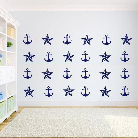Anchor And Nautical Stars Wall Decal Set Vinyl