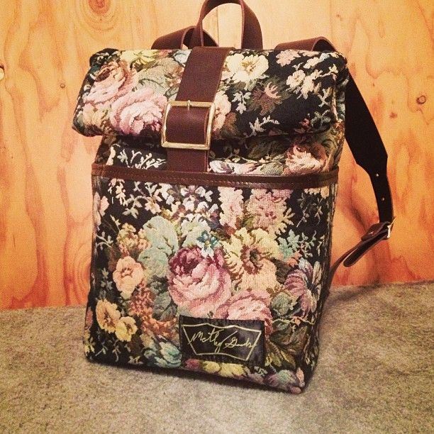 The Backpack in Dark Floral Tapestry