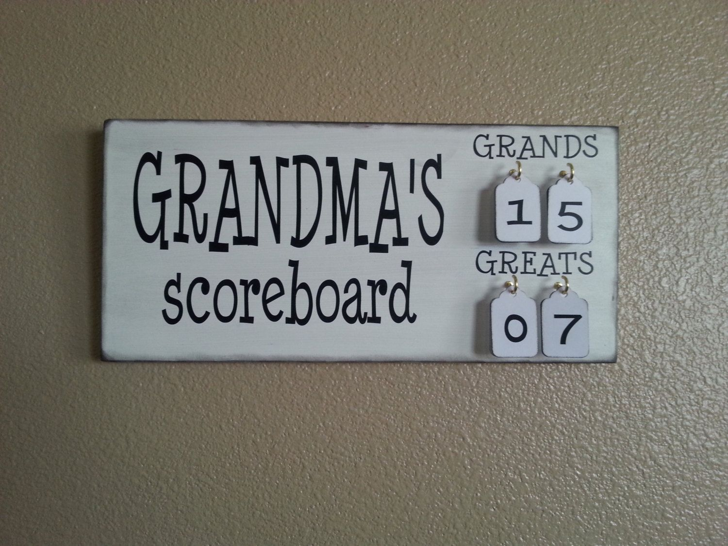 Grandma\'s Scoreboard with Grands and Greats tally tags grandparent ...