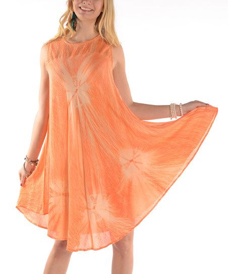 Shoreline Orange Sequin Yoke Midi Dress Plus Zulily
