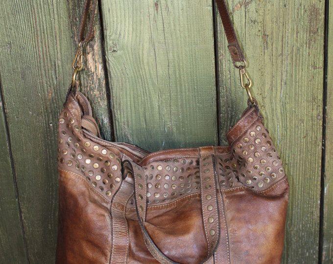 Effet vieilli Style Vintage marron clouté en cuir sac à main ... 5aa01b31112