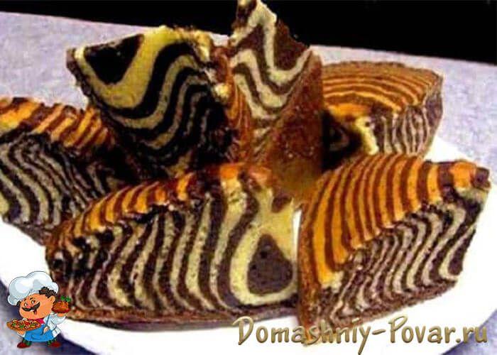 Пирог Зебра на кефире | Рецепт | Брауни в чашке, Торт ...