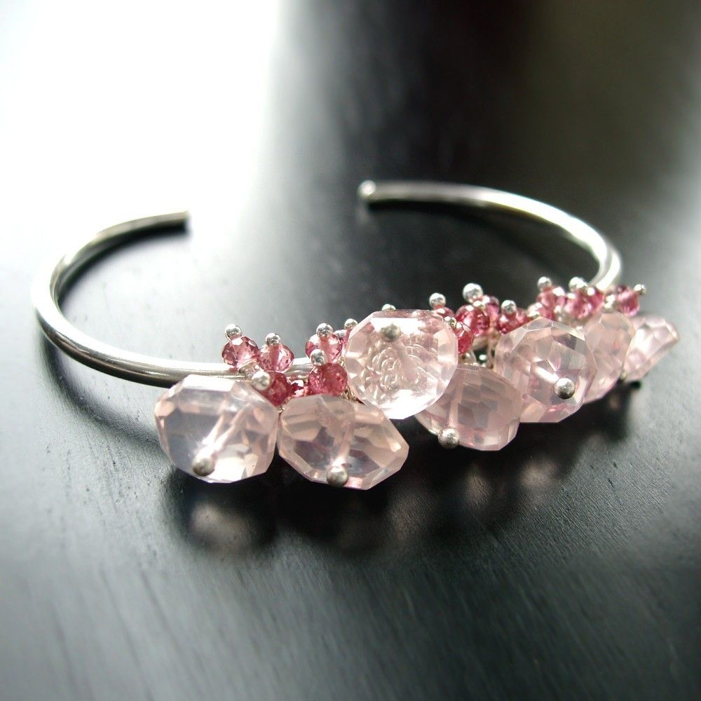 ON SALE - Silver Cuff Bracelet with Pink Tourmaline and Rose Quartz - Custom Made to Order