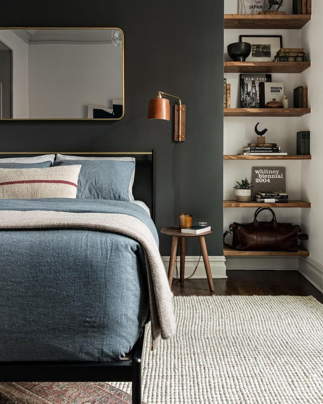 Bedroom Blue Feature Wall Bedroom Decorating Ideas With Lights Modern 3 Bedroom Apartment Bedroom Paint Ideas Green: The Perfect Dark Green Paint Wall Color With Dark Denim