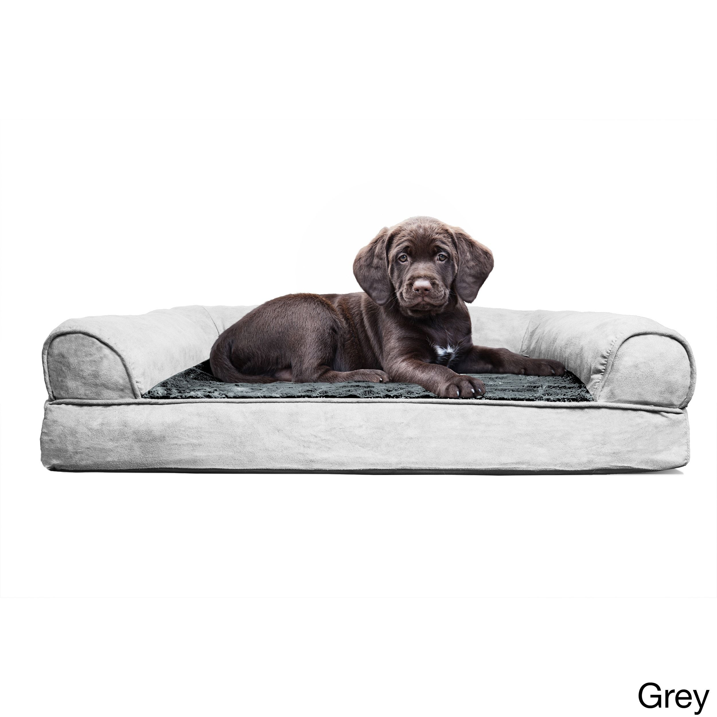 Furhaven Plush Suede Sofa Style Orthopedic Bolster Pet Bed