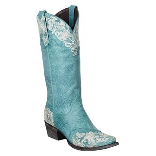 Lane Boots Women's 'Jeni Lace' Blue Leather Cowboy Boots by Lane ...