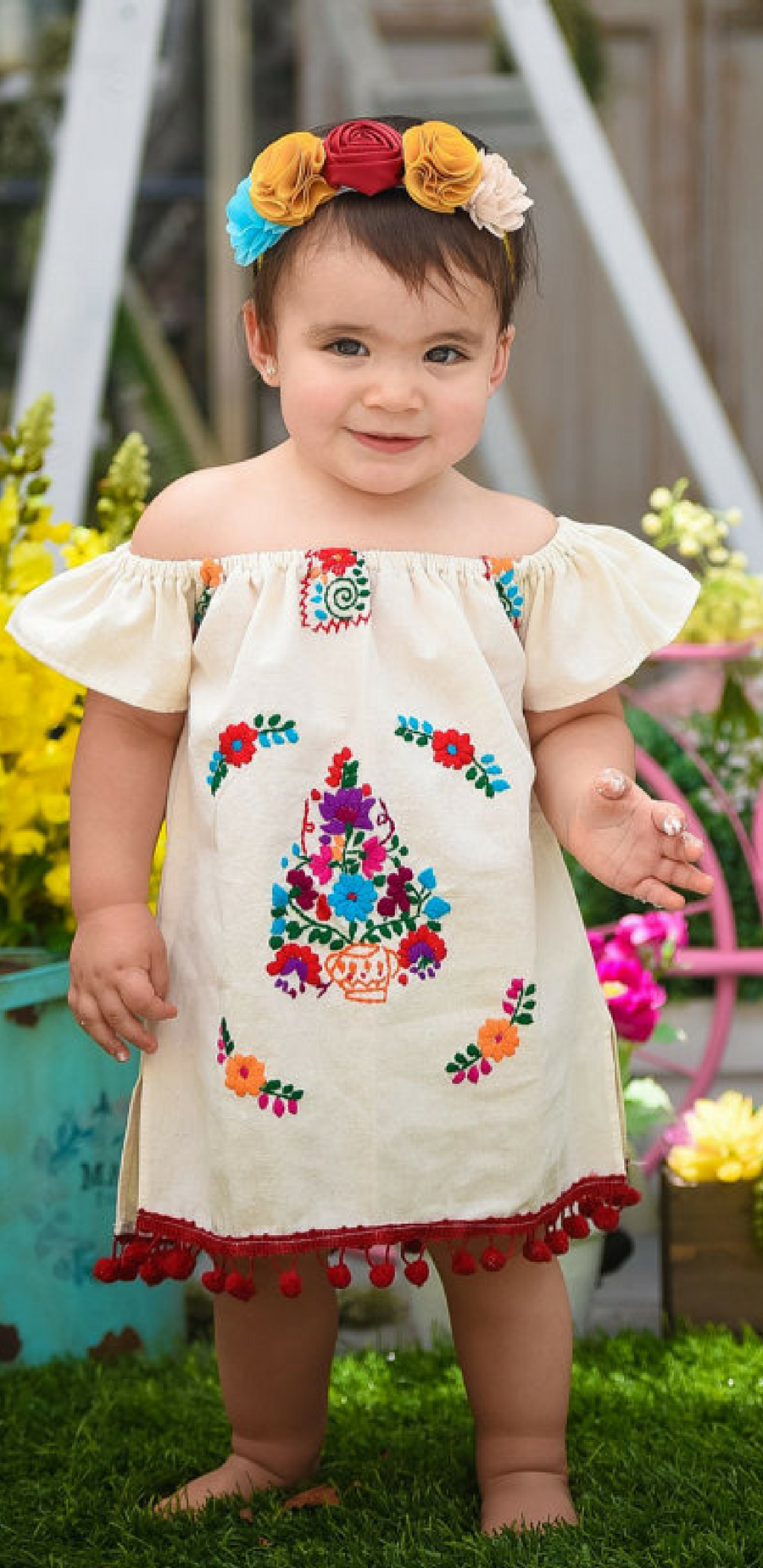 Adorable Moni Mexican Embroidered Dress Baby
