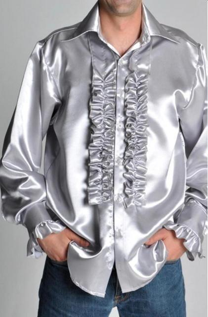 Camicia raso Seventy argento uomo orchestra Anni 70 moda ruches volants  arricciate luminoso effetto spettacolo concerto evento rock abito da sera  party ... f724a3c7ffb
